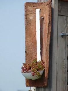 I knew it was a good idea to keep that old laddle around. #garden #sempervivum #ladde