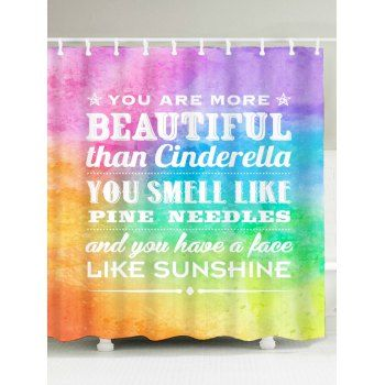 English Proverb Color Block Printed Shower Curtain - W59 INCH*L71 INCH W59 INCH*L71 INCH