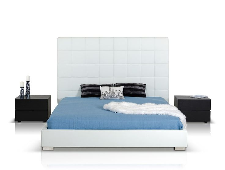 Francis Modern White Leather Bed - Modern Bedroom - Bedroom
