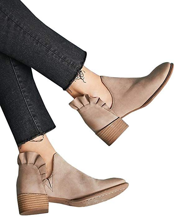 7bc22dfc8cb Amazon.com  Boots for Women Ankle Ruffle Chunky Heel Cut out Patchwork  Summer Dress Shoes  Clothing