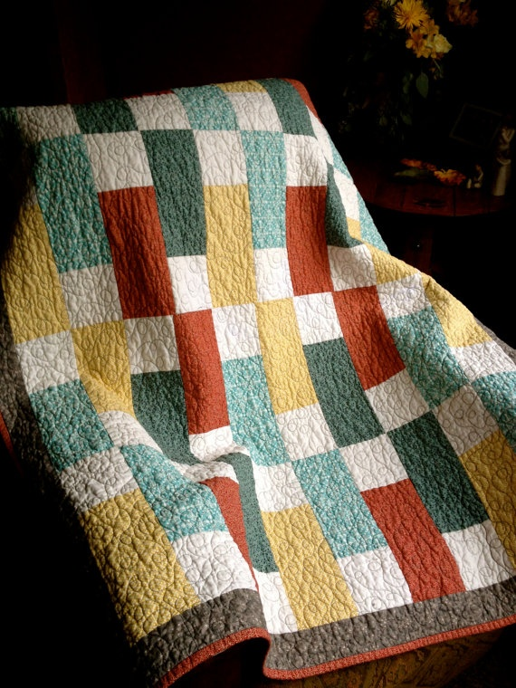 Beautiful MultiColor Patchwork Quilted Throw by TrendMakerDesigns