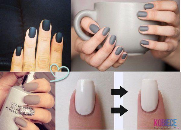 Domowy sposób na matowe paznokcie ^^ Do lakieru dodać odrobinę...
