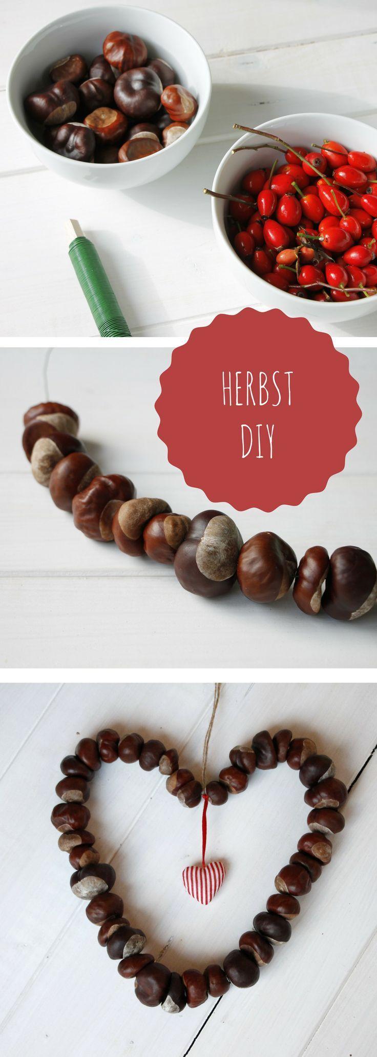 DIY-Idee für den Herbst: Kastanienherz und Hagebuttenkranz