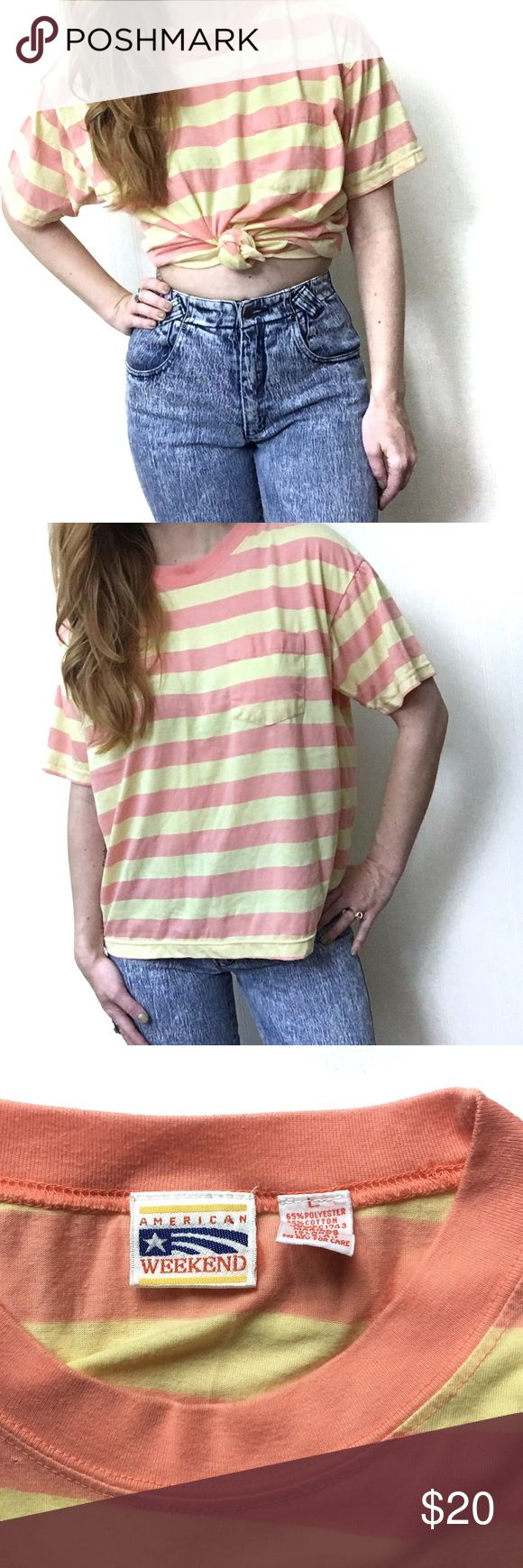 〰Vintage oversized striped tee This is a perfect boxy oversized melon & yellow striped tee in a size large, fits women's s-m, or snugger size large. Super cute worn as a tied crop or just slouchy. Tiny hole that can be seen in the 3rd photo right hand corner. The brand is American Weekend 🇺🇸 Vintage Tops Tees - Short Sleeve