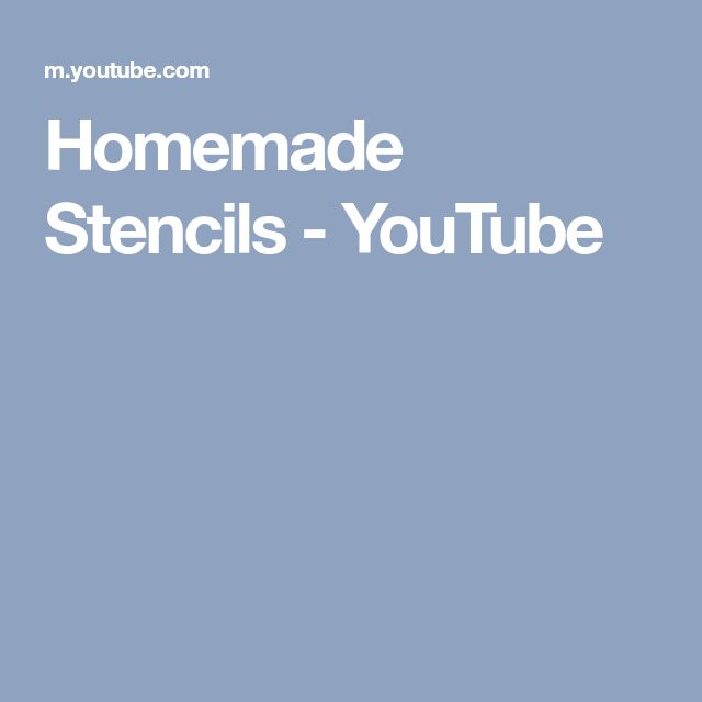 Homemade Stencils - YouTube