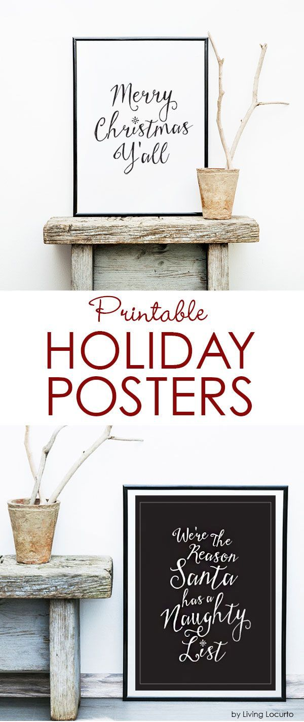 Adorable FREE Printable Christmas Holiday Posters. Perfect for unique holiday home decor and DIY gifts. Merry Christmas Y'All and We're the Reason Santa has a Naughty List. Both come in black or white backgrounds.