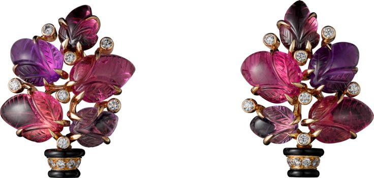 Earrings with engraved stones, 18K pink gold, set with rubellites, amethysts, garnets, onyx and 32 diamonds totaling 0.33 carats.