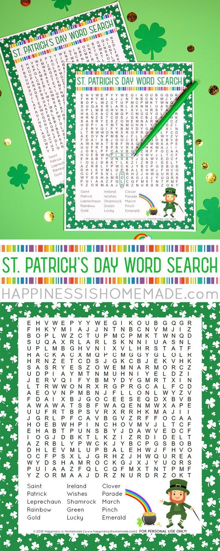 This St. Patricks Day Word Search printable puzzle is a ton of fun for kids of