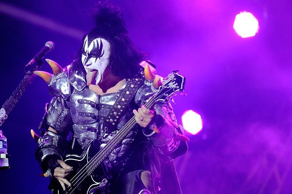 Gene Simmons of Kiss performs in Clisson, western France.