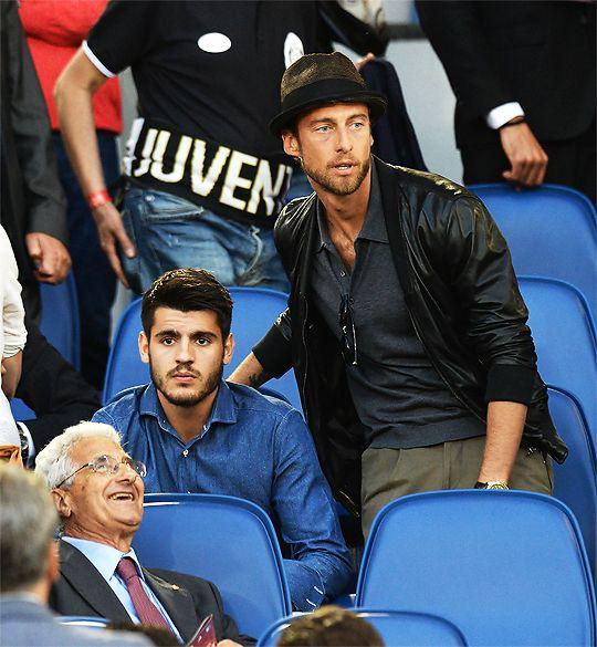 Alvaro Morata and Claudio Marchisio attend to the match between Juventus and Lazio (Coppa Italia final).