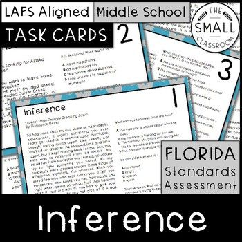 These 20 task cards are perfect for FSA (Florida Standards Assessment) or standardized test prep. They use excerpts from popular youth novels to help engage your students as they practice their inferencing skills. Each card contains one short passage, two multiple choice questions, and one open response question.