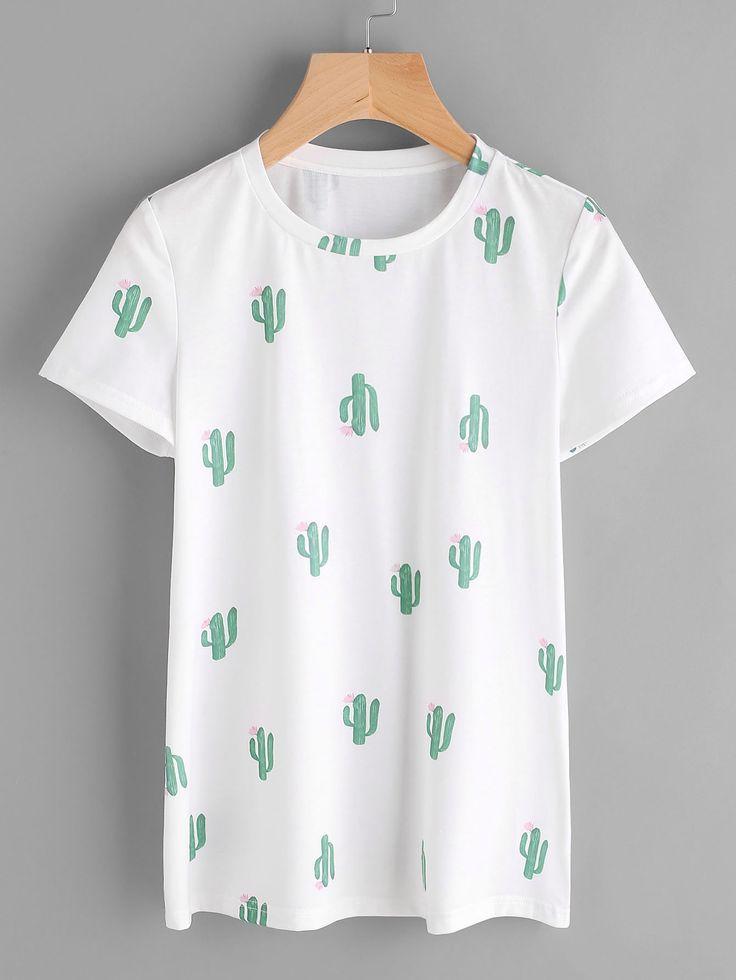 Shop Allover Cactus Print Tee online. SheIn offers Allover Cactus Print Tee & more to fit your fashionable needs.