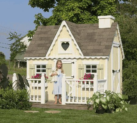 Kids Outdoor Victorian Wooden Playhouse Kit 4 x 6