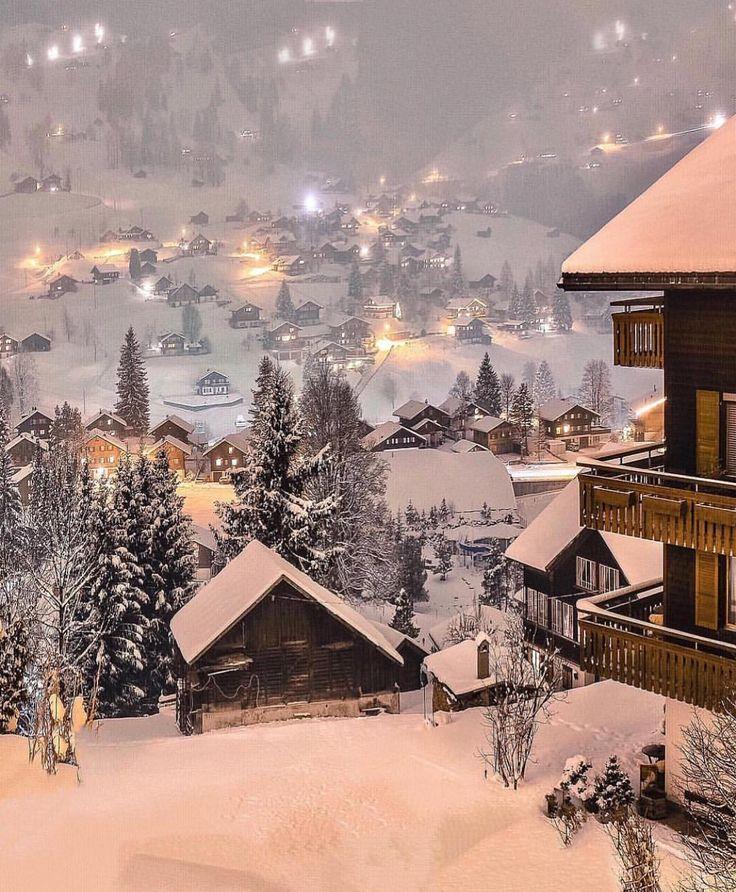 Switzerland village covered in snow. On the bucket list!