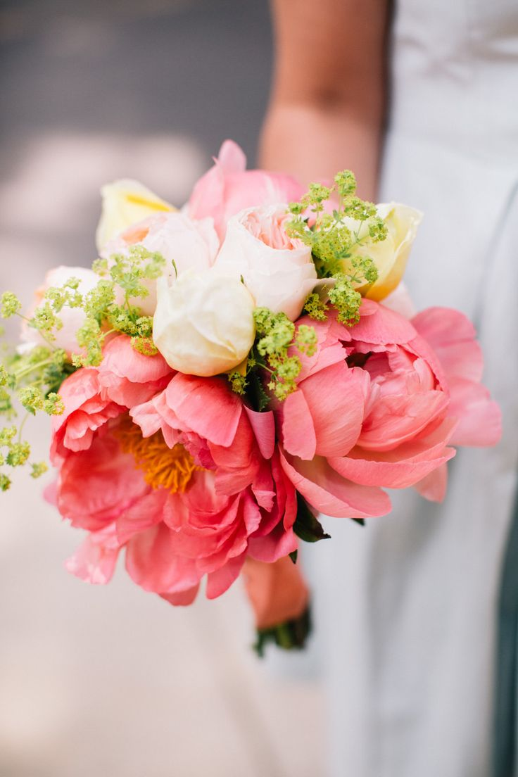 Giant Peony + Rose Bouquet -- See the wedding on #SMP here: http://www.StyleMePretty.com/2014/05/09/marion-summer-waterfront-wedding/ Joyelle West Photography - jwestwedding.com