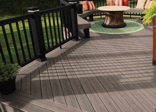 composite deck with built in benches and fire pit - Google Search