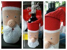 Cubre Botella Papá Noel - Crochet - Patrón en Español ~ Crochet para Ti