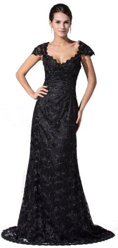 herafa p3102314 Evening Gowns Elegant Scoop Neck Cap Sleeve HandSewn Beads Lace Applique Long 0 ALine Black *** Check this awesome product by going to the link at the image.