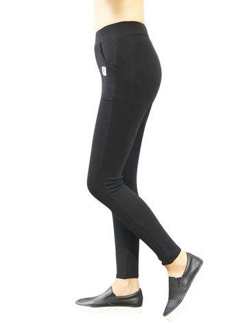 Women Elastic Waist Pocket Leggins Ninth Skinny Pants Online - NewChic
