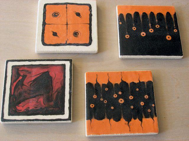 Coasters with slips and glaze.