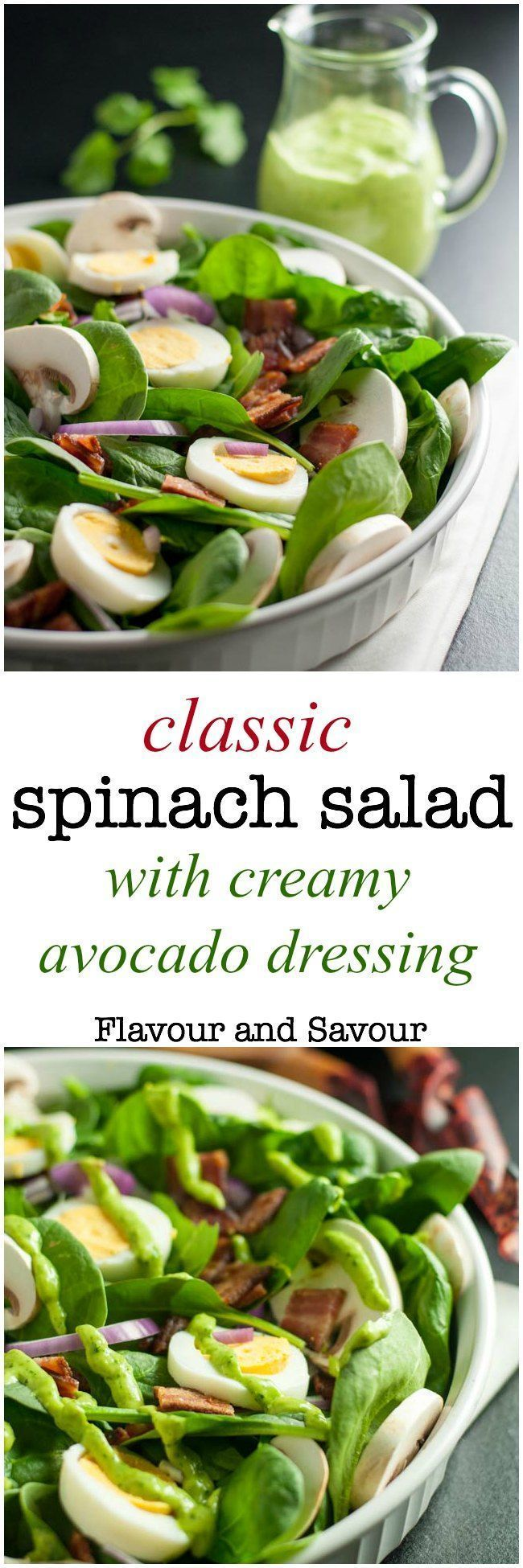 Love spinach salad but hate the high-fat buttermilk dressing? Try this updated paleo spinach salad with creamy dairy-free avocado dressing. So good! #dairy-free #avocado #spinach