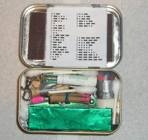 Altoids Survival Tin-I would probably make two. One for the car, which would be more medical, the other would be more survival/outdoors for camping and outdoor events.