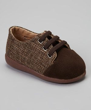 Love this Itzy Bitzy Brown Tweed Kevin Slip-On Squeaker Shoe by Itzy Bitzy on #zulily! #zulilyfinds