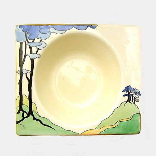 Fabulous ART DECO 1930s CLARICE CLIFF pottery 'BLUE FIRS' pattern BIARRITZ BOWL