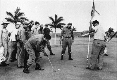 Fidel Castro & Che Guevara playing golf.