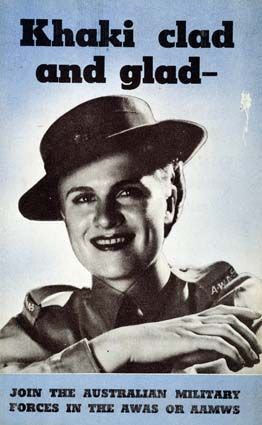 """Australian WWII women's recruitment poster for the AWAS or AAMS, """"Khaki clad and glad"""""""