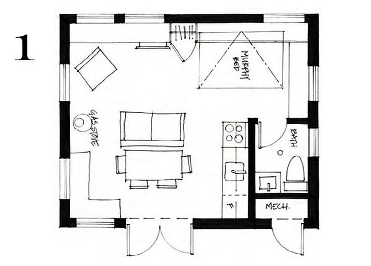 400 ft2 37 2 m2 studio cottage with sleeping loft by for Sleeping cabin plans