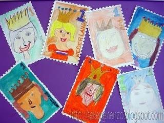 maak een postzegel met de nieuwe koning of koningin....