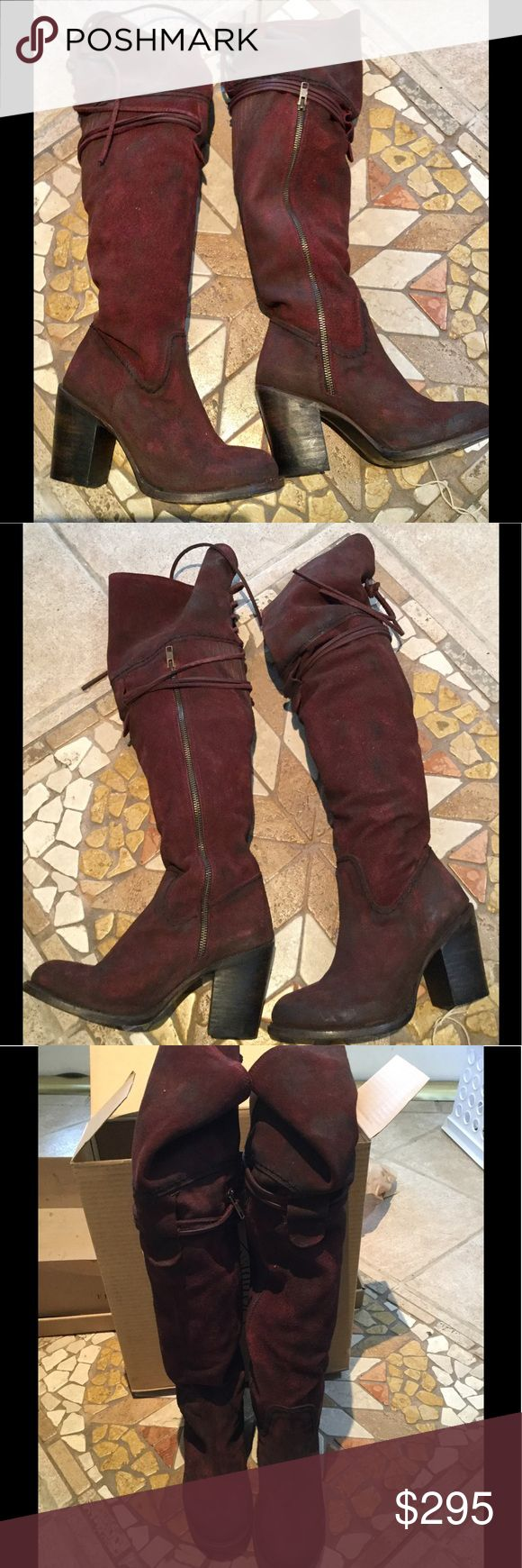 """Freebird by steve Brock boot wine OTK NWT Dare to make a bold statement in the over-the-knee Brock boots in a rich wine suede. A lace-up leather design behind the knee with leather straps complete the 23"""" tops. These soft leather tops can be adjusted or flipped down for a versatile look. Walk tall and confident in a 3 1/4"""" stacked leather heel and round toe. Distressing deepens color around the edges and adds character to the leather. Free People, boho hippy hippie cute sexy hot Abercrombie…"""