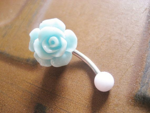 Mint Green Turquoise Rose Belly Button Ring- Pastel Minty Light Seafoam Flower Navel Stud Jewelry Bar Barbell Piercing. I think I just fell inlove with this