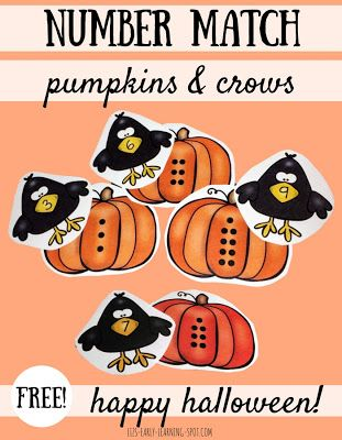 Halloween Number Match with Pumpkins and Crows  This Halloween number match activity with pumpkins and crows is a great way to practice numbers during Halloween and Thanksgiving! Practice number matching ascending and descending order plus patterns such as odd and even. You can find this free activity at Liz's Early Learning Spot where you'll also find links to 5 Halloween art projects.  Till next time!  counting counting 1-10 Halloween Liz's Early Learning Spot matching numbers PK-2…