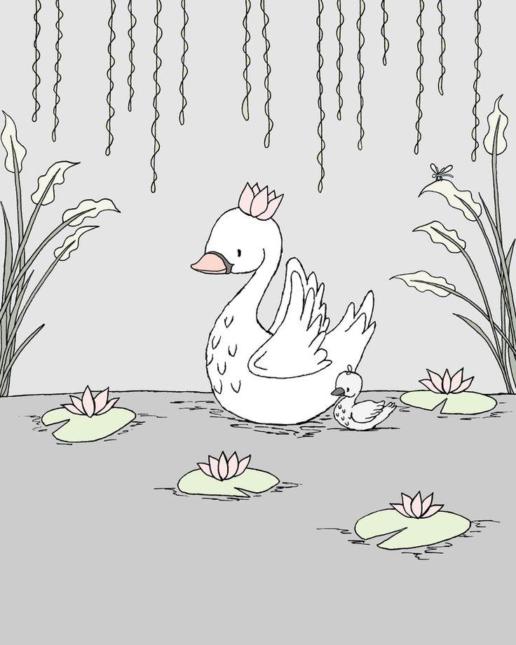 Swan Nursery Art - Royal Swan Mama and Baby