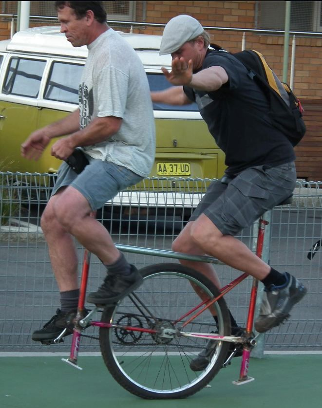 Tandem Unicycle. Friends of Richard Lees. Manly, Sydney.