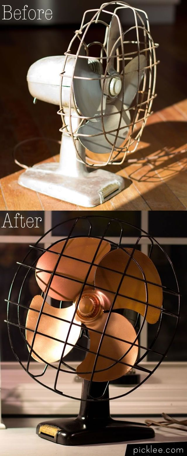 Use spray paint to update a vintage fan and bring an old-school (yet on-trend) look to your workspace or home.
