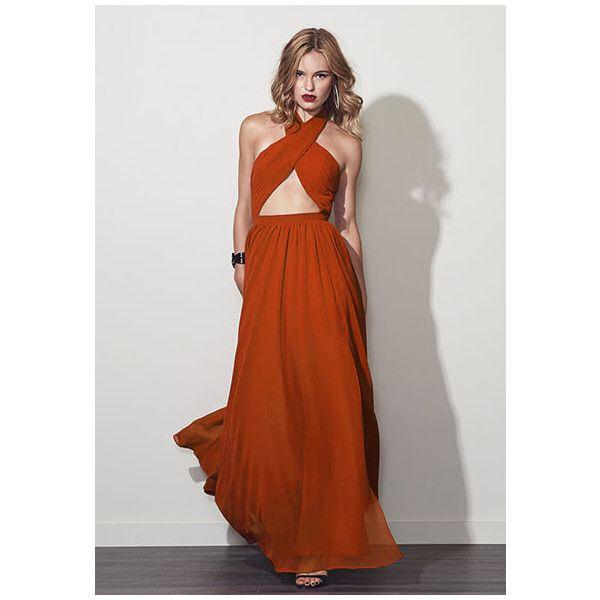 Burnt Orange Wired Heart Dress (320 SGD) ❤ liked on Polyvore featuring dresses, burnt orange, halter dress, formal prom dresses, cut out prom dresses, boho dresses and bohemian dress