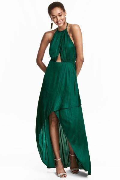 랩스타일 롱 드레스 - 에메랄드 그린 - Ladies | H&M KR