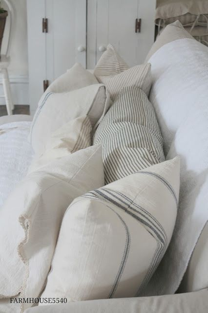 Soft creams and whites. Gray ticking and stripes.