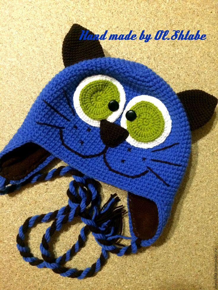 """Купить Шапка """"Непослушный кот"""" - комбинированный, рисунок, шапка детская, шапка…"""