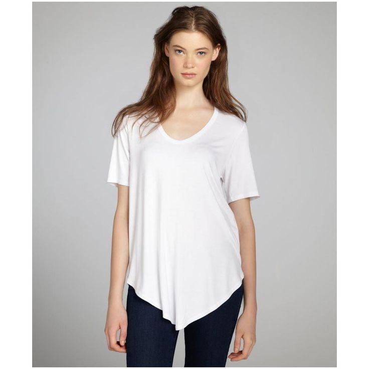 French-Fashion-White-V-Neck-Women-T-Shirt-