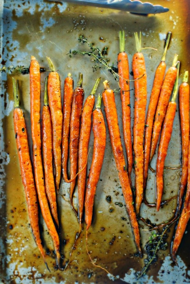 Glazed Whole Roasted Carrots ~ Tender carrots glazed in a sweetly-tangy balsamic and honey glaze