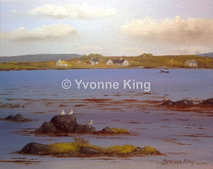Original Irish Painting,Wild Atlantic Way,Yvonne King,Connemara,West of Ireland,Roundstone,Seascape,Cottages,Seagulls,Island,Currach,Gift by YvonneKingArt on Etsy https://www.etsy.com/listing/240527052/original-irish-paintingwild-atlantic