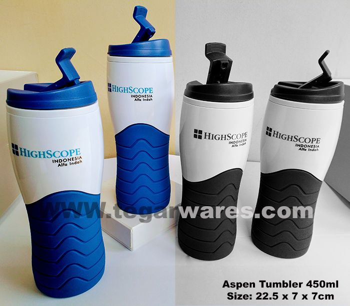 Aspen type tumbler Size: 22.5 x 7 x 7cm Capacity: 450ml. Color: Black, Blue, Green, Red Aspen type Tumbler, made of PP plastic material, rubber bottom coated. Comfortably held and durable. Look picture above tumbler type Aspen for merchandise of international school student ordered by High Scope School Indonesia Taman Alfa Indah Jakarta