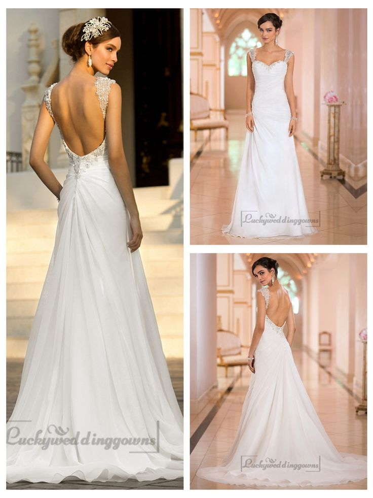 Beaded Cap Sleeves Sweetheart A-line Simple Wedding Dresses with Low   Open Back http://www.ckdress.com/beaded-cap-sleeves-sweetheart-aline-simple-  wedding-dresses-with-low-open-back-p-2017.html  #wedding #dresses #dress #lightindream #lightindreaming #wed #clothing   #gown #weddingdresses #dressesonline #dressonline #bride