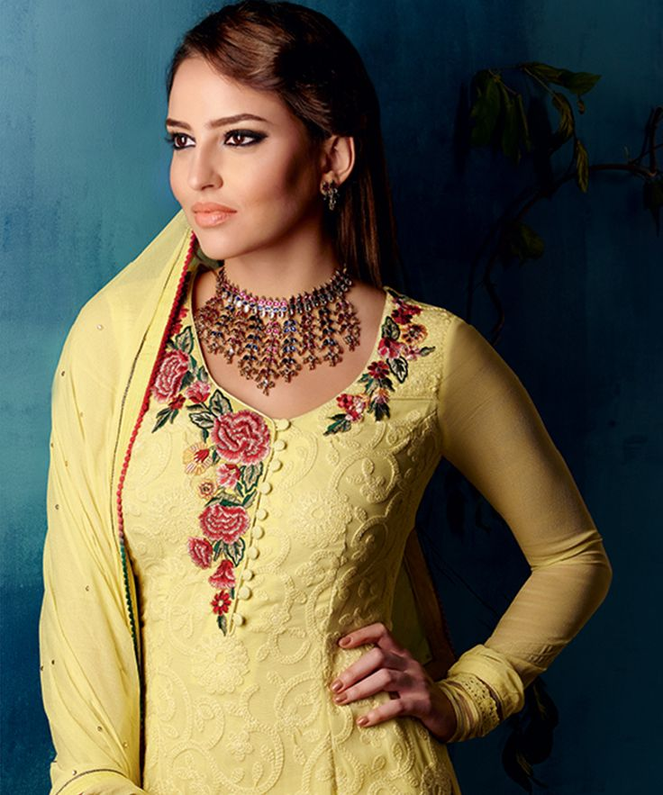 #OnlineShoppingIndia Store sell #Designer Redefining Chikankari Elegance Style Red green Flower #Embroidered On Neck Light Yellow Chikan Printed Georgette Fabric With Light Yellow Chiffon Dupatta Straight semi-stitched salwar-suit #dress materials.