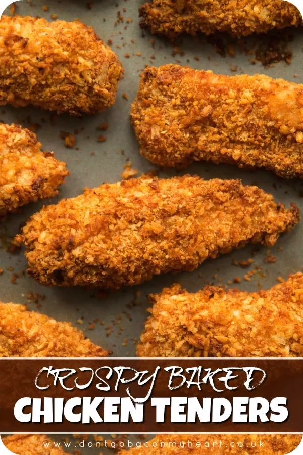 Here I'll show you the secrets to getting extra crispy chicken tenders in the oven. Easy to make and bursting with flavour, these breaded chicken tenders are the ultimate finger food! #chickenfingers #chickenstrips #chickengoujons #chickentenders | www.dontgobaconmyheart.co.uk