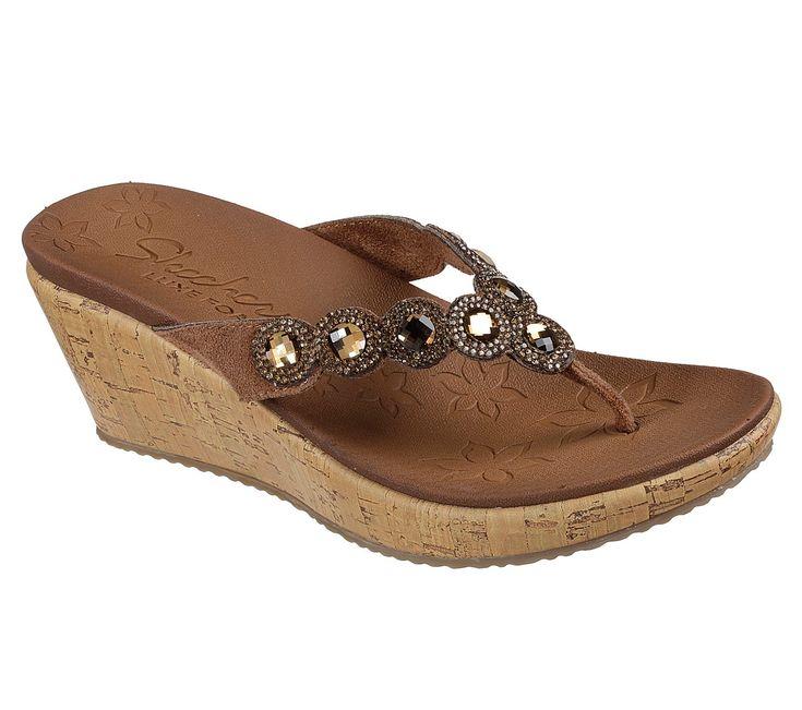 Skechers Womans Sandal 8 Thong Wedge Brown Slip On Woven (cx)